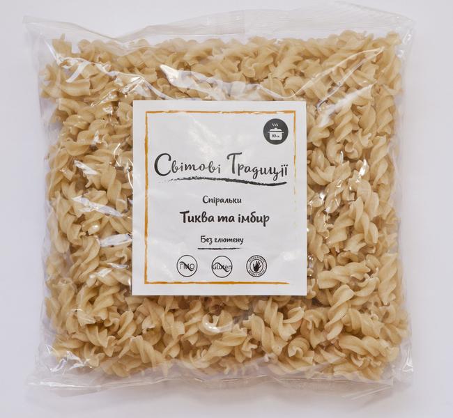 Макароны рисовые, спиральки с тыквой и имбирем